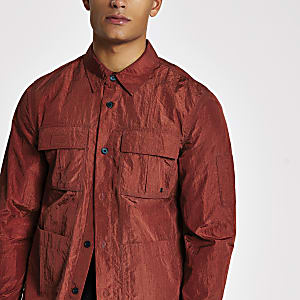 Rostbraunes, langärmeliges Regular Fit Überhemd