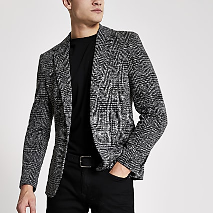 Grey check print skinny fit blazer