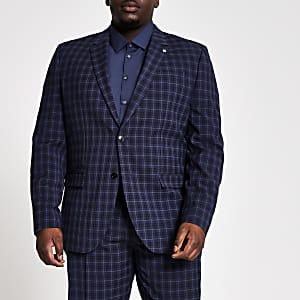 Big & Tall – Marineblau karierte, schmal geschnittene Anzugjacke