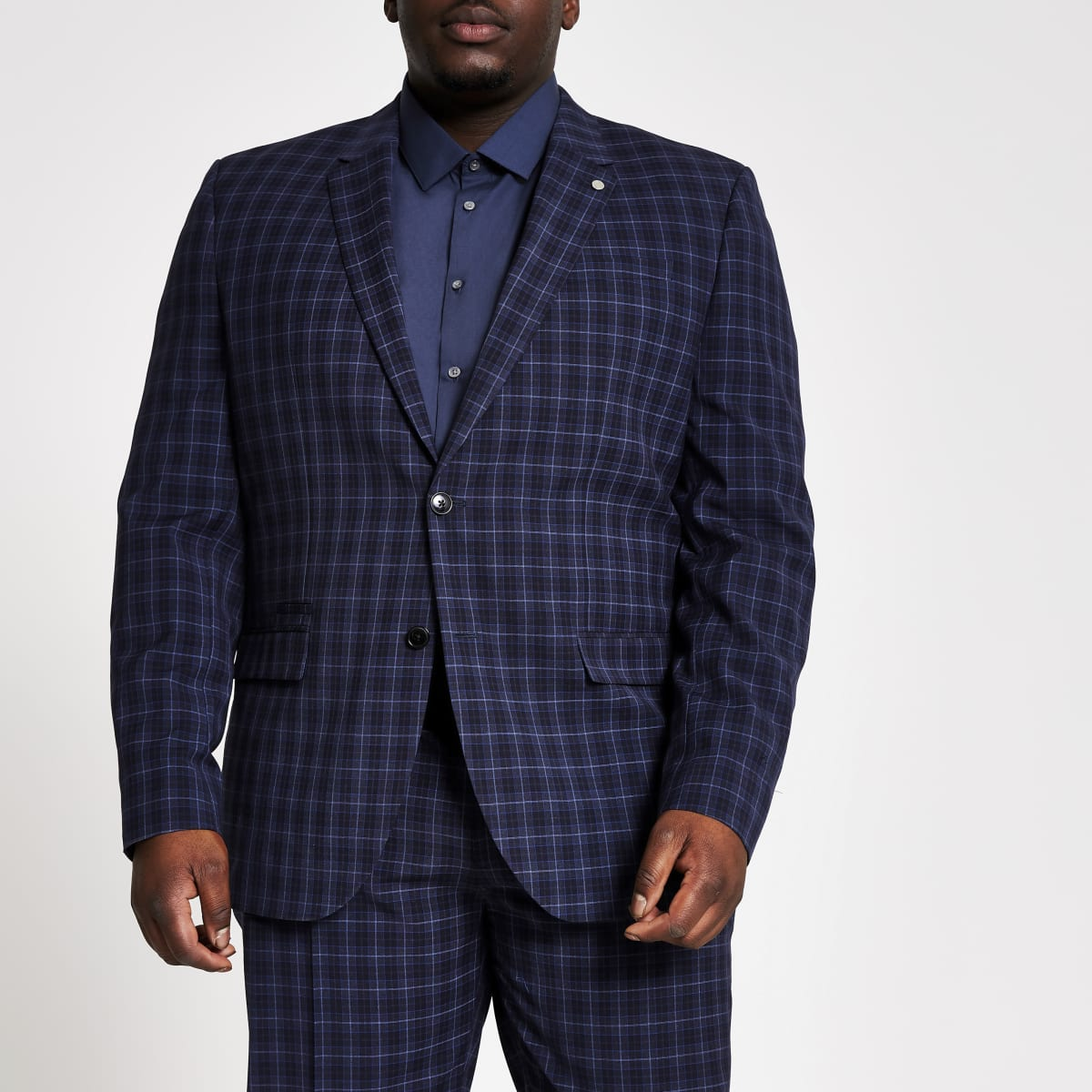 Big and Tall – Veste de costume skinny à carreaux bleu marine