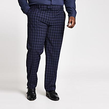 Big and Tall navy skinny suit trousers