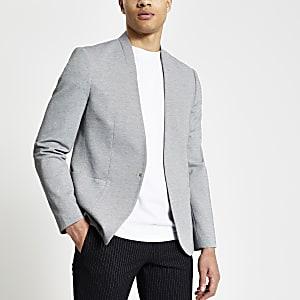 Grijze skinny-fit pique blazer zonder kraag