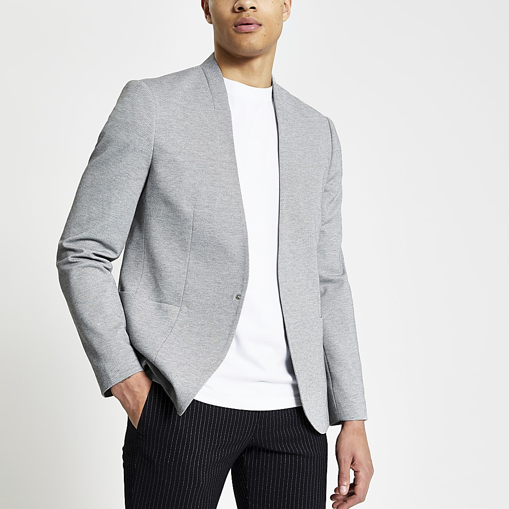Grey pique collarless skinny fit blazer