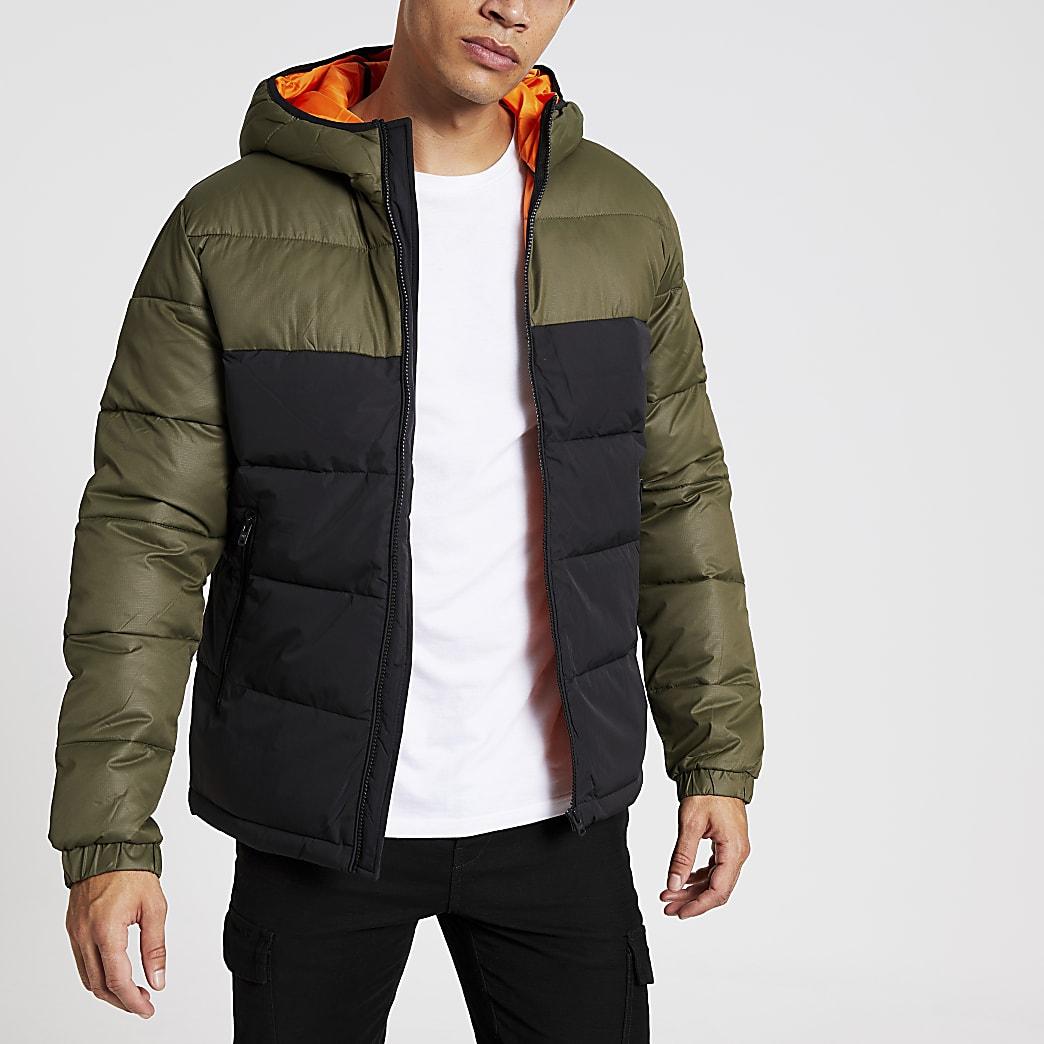 Jack & Jones – Grüner, gefütterter Mantel in Blockfarben