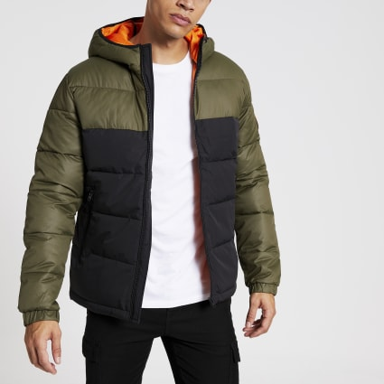 Jack and Jones green blocked padded coat