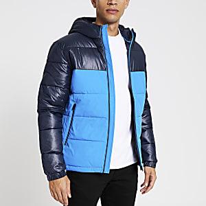 Jack and Jones - Blauwe gewatteerde jas met vlakken