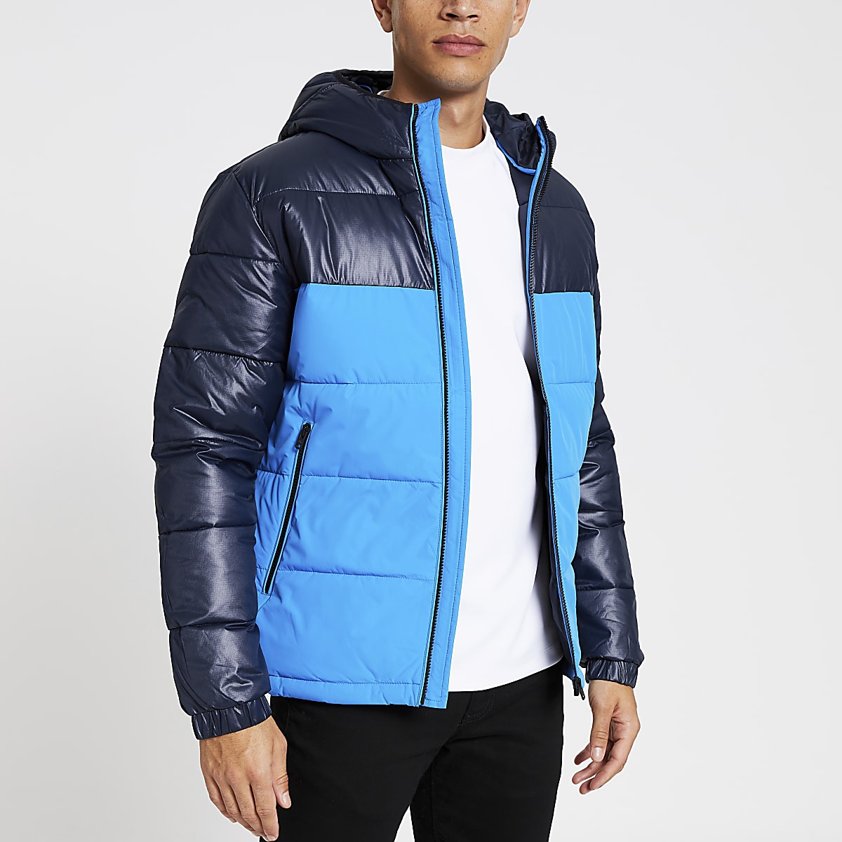 Jack and Jones - Manteau rembourré bleu colour block