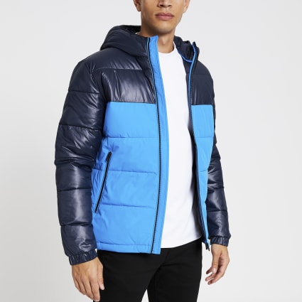 Jack and Jones blue block padded coat