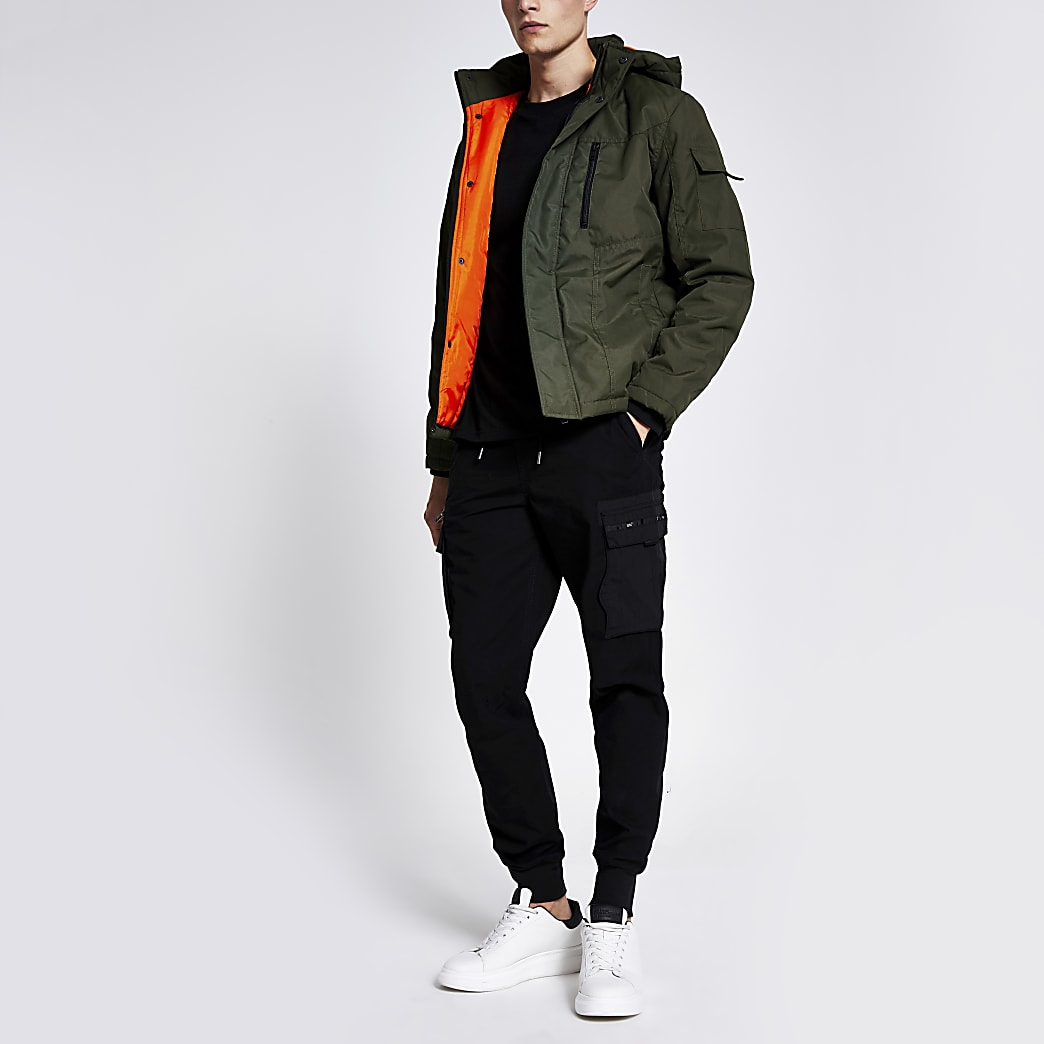 Jack & Jones green hooded padded jacket