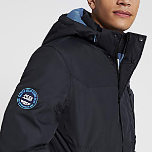 Jack and Jones - Marineblauw gewatteerd jack met capuchon