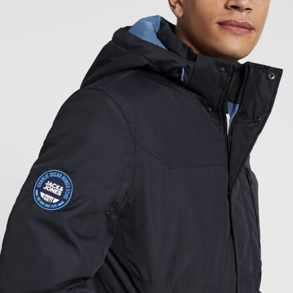 Jack and Jones navy hooded padded jacket