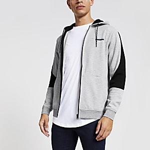 Jack and Jones - Grijze hoodie met vlakken