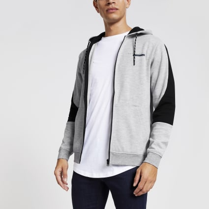 Jack and Jones grey blocked hoodie