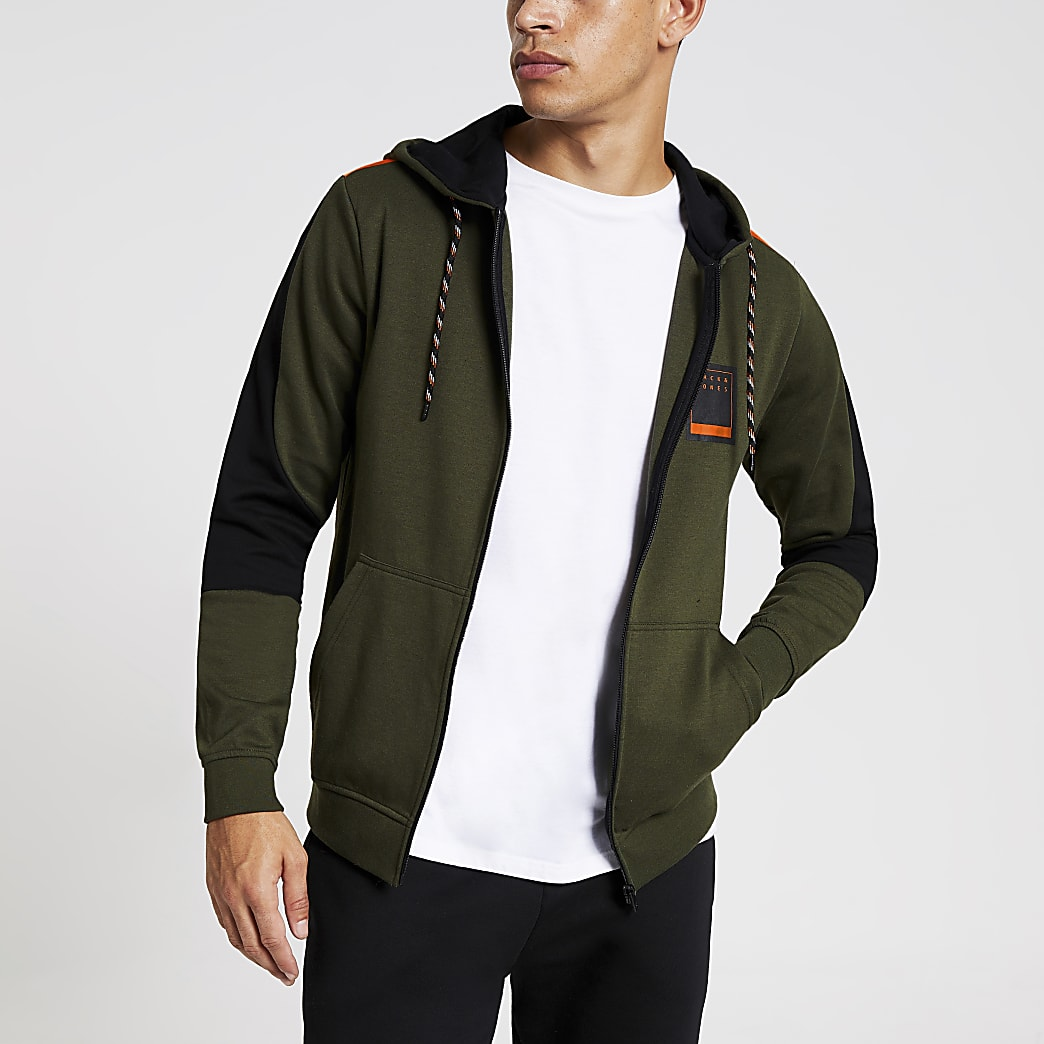 Jack and Jones - Sweat à capuche zippé vert colour block