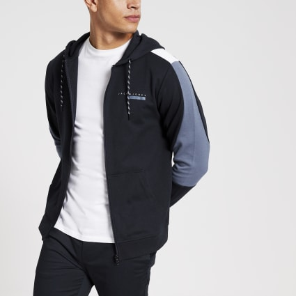 Jack and Jones navy blocked hoodie