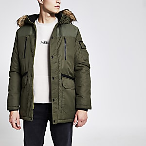Jack and Jones – Mantel mit Kapuze mit Kunstfellbesatz in Khaki