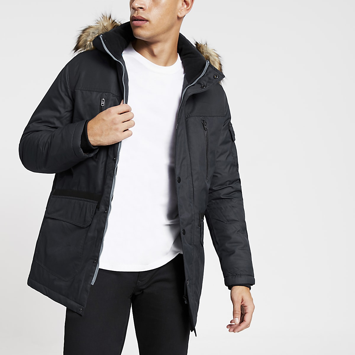 Jack and Jones navy faux fur hooded parka