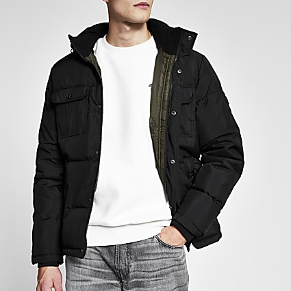 Jack and Jones black padded jacket