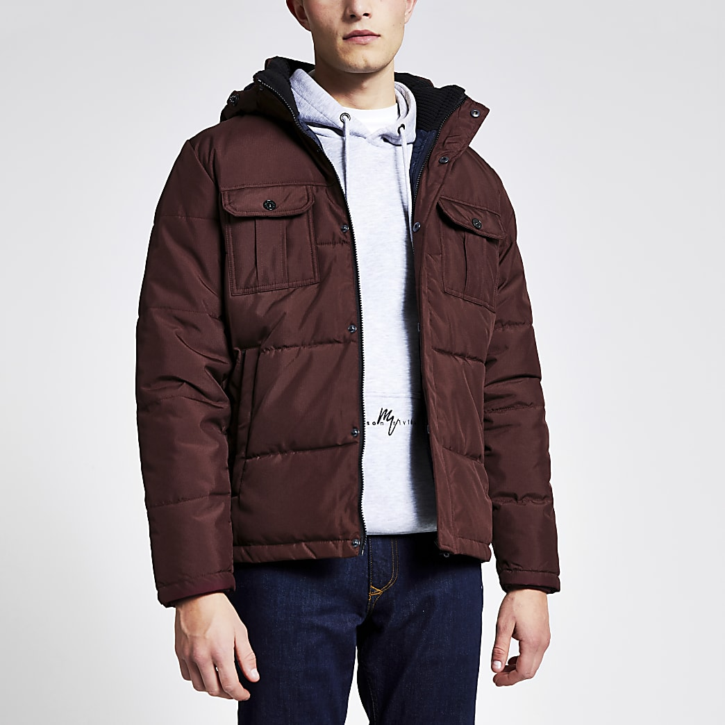 Jack & Jones dark red hooded padded jacket