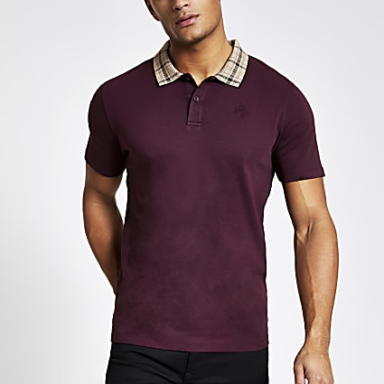 Burgundy check collar slim fit polo shirt