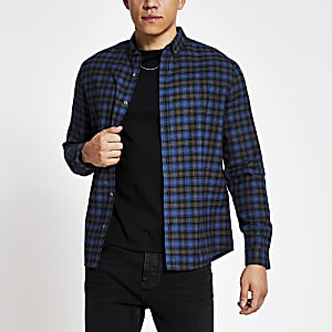 Maison Riviera - Blauw geruit slim-fit overhemd