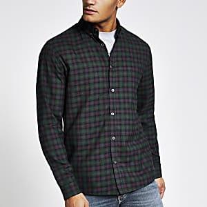 Maison Riviera – Grünes T-Shirt im Slim Fit-Schnitt mit Karomuster