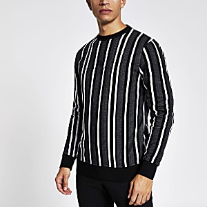 Grijze gestreepte slim-fit sweater met lange mouwen
