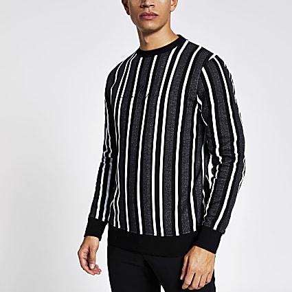 Grey stripe long sleeve slim fit sweatshirt