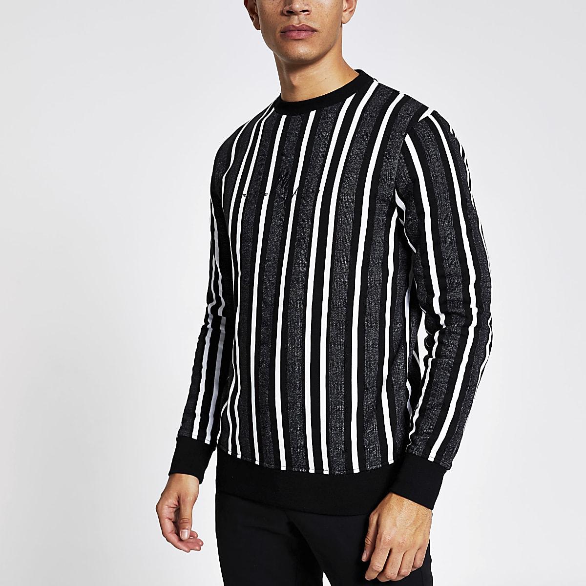 Grey stripe long sleeve slim fit sweatshirt