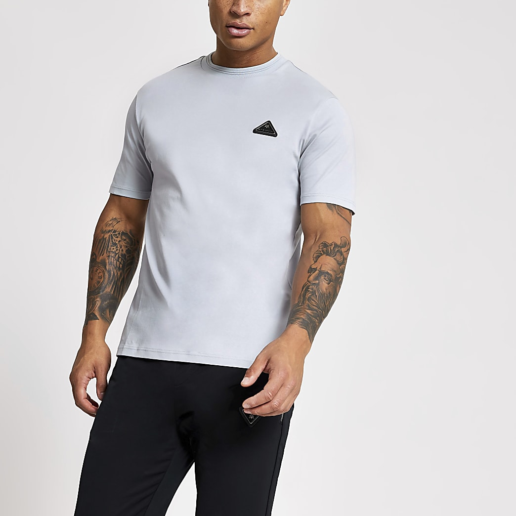 T-shirt slim gris avec badge MCMLX
