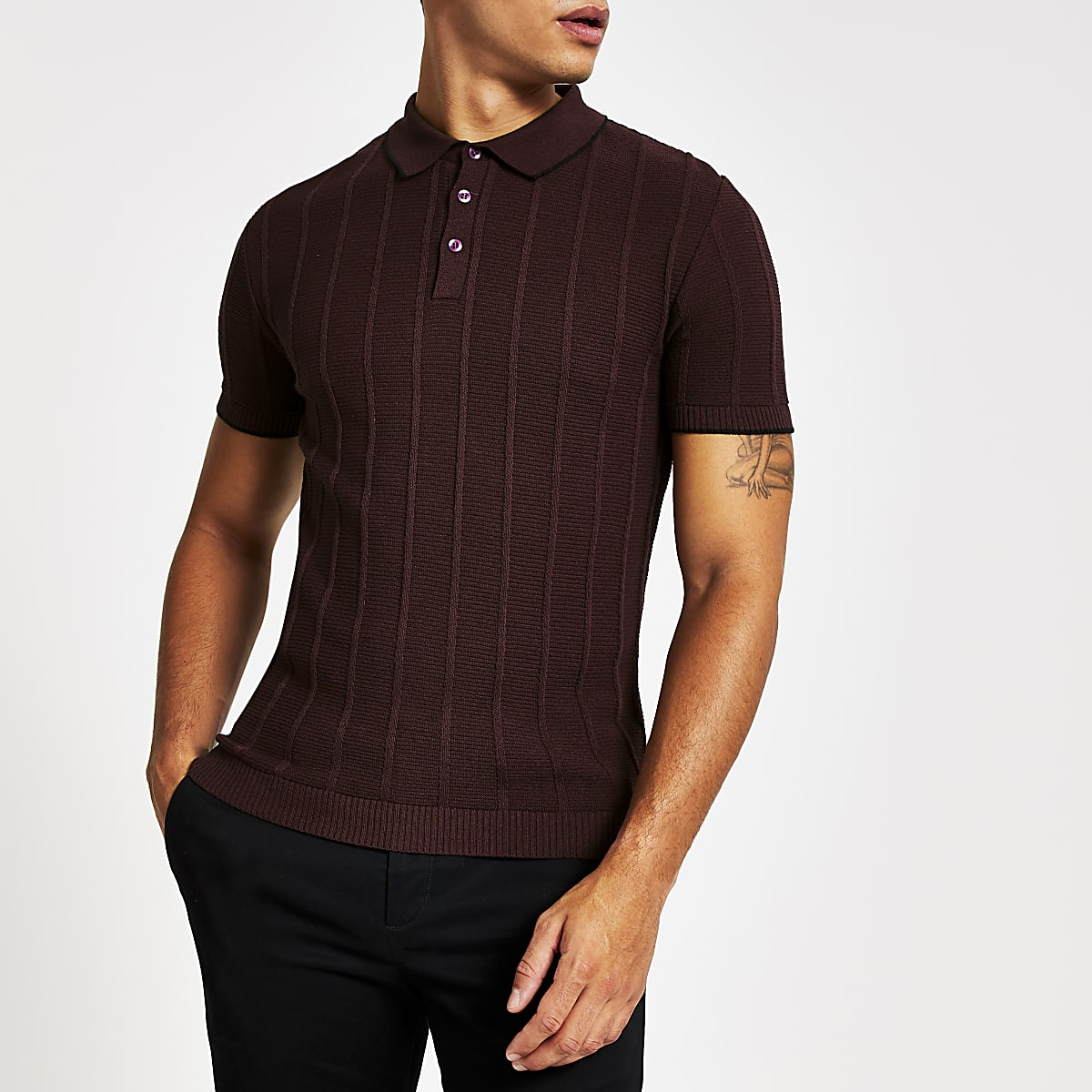 Dark red knitted stitch muscle fit polo shirt