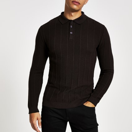 Dark purple muscle fit ribbed polo shirt