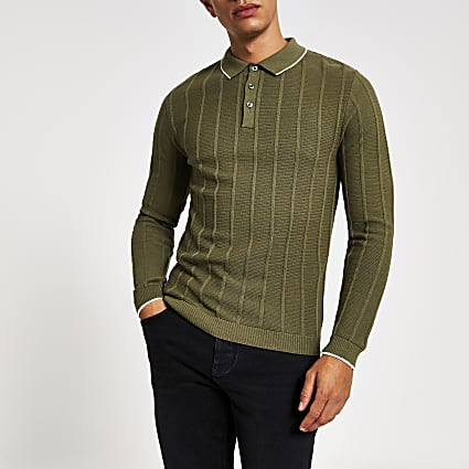 Light green muscle fit ribbed polo shirt