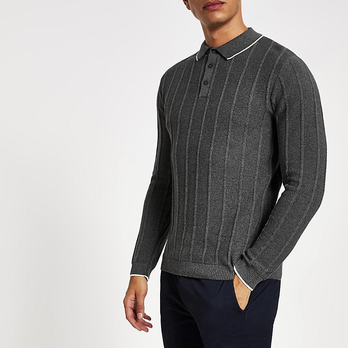 Dark grey muscle fit ribbed polo shirt
