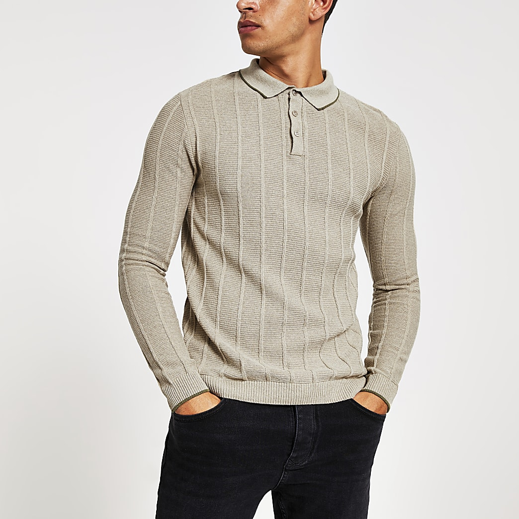 Stone muscle fit ribbed polo shirt