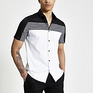 Wit slim-fit overhemd met kleurvlakken en pied-de-poule-motief