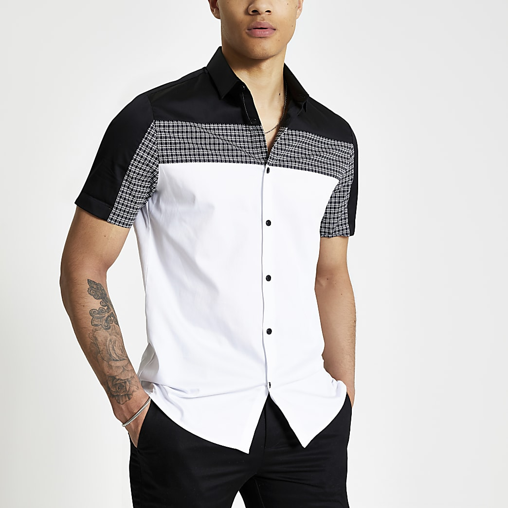 White houndstooth colour block slim fit shirt