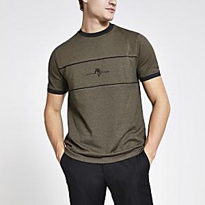 Maison Riviera – Khakifarbenes T-Shirt im Slim Fit