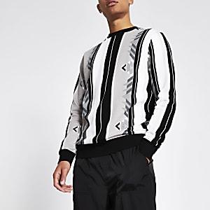 Graues Regular Fit Sweatshirt mit Azteken-Streifen