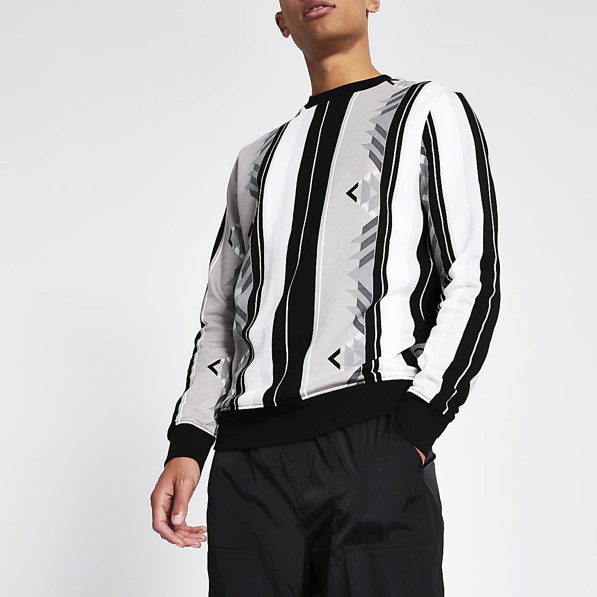 Grey aztec stripe regular fit sweatshirt