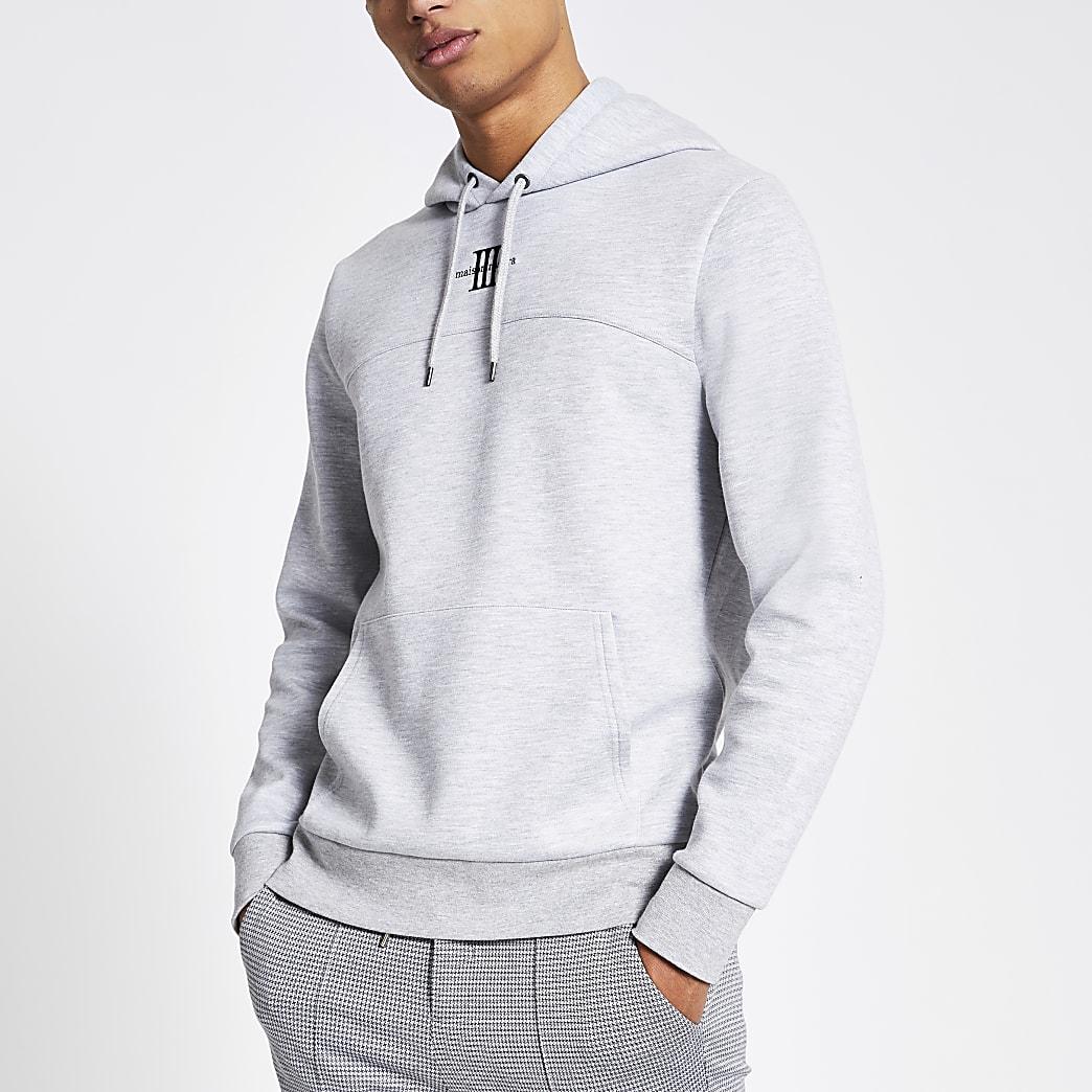 Maison Riviera grey slim fit hoodie