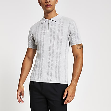 Grey muscle fit zip neck polo shirt