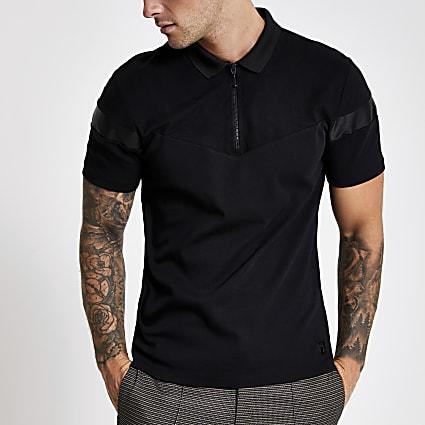 Black slim fit suedette blocked polo shirt