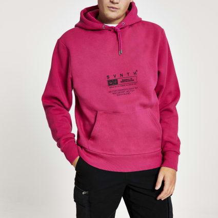 Pink Svnth printed long sleeve hoodie