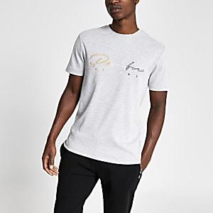"""Graues Slim Fit T-Shirt """"Prolific"""" mit Stickerei"""