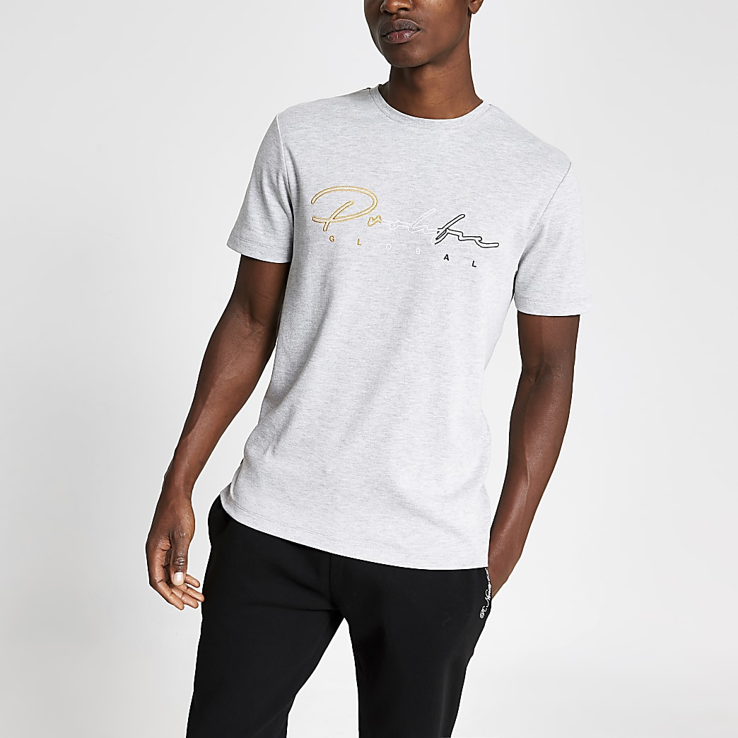 Prolific grey embroidered slim fit T-shirt