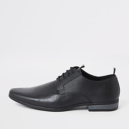 Black embossed tape derby shoes