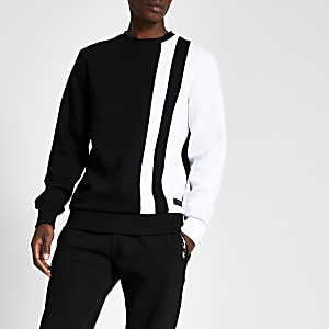 Zwarte slim-fit sweater met monochrome vlakken