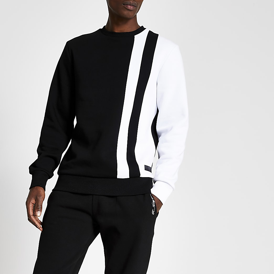 Sweat slim noir avec détail colour block noir et blanc