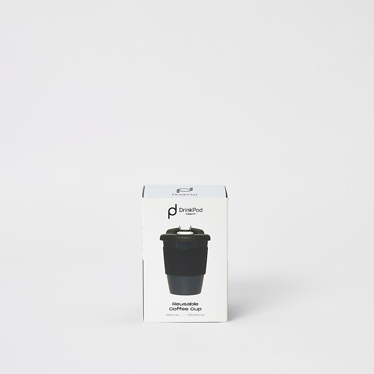 DrinkPod - Tasse à café réutilisable noire 12 oz